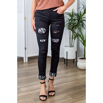 Kan Can Leopard Patched Jeans- Black/Grey