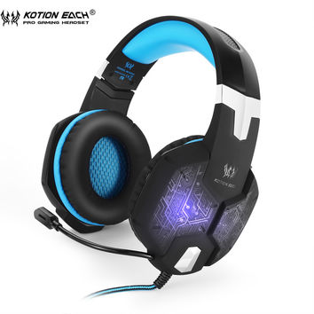 KOTION EACH G1000 Gaming headphones PC Gamer headset Over Ear Noise Isolating Breathing LED Lights headphone with Microphone