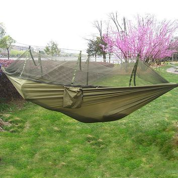 9 colors Portable Outdoor Single-person Hammock Nylon Fabric Hanging Bed With Mosquito Net Sleeping Hammock for Travel Camping