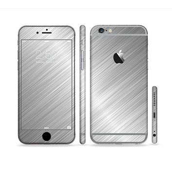 The Silver Brushed Aluminum Surface Sectioned Skin Series for the Apple iPhone 6 Plus