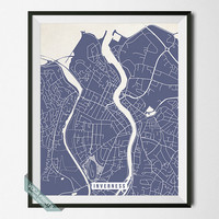Inverness Print, Scotland Poster, Inverness Street Map, Scotland Map Print, Wall Decor, Livingroom Decor, Office Art, Back To School