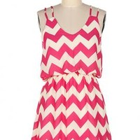 Summer Recreation Double Strap Chevron Print Dress in Fuchsia | Sincerely Sweet Boutique
