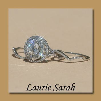 Round Diamond Wedding Set with Two Diamond Contoured Bands - LS1516
