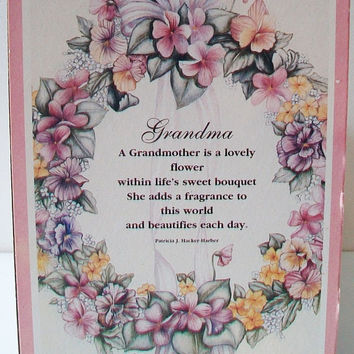 Vintage Grandma Pink Floral Wreath Plaque Grandmother Wall Decor Grandparents Day