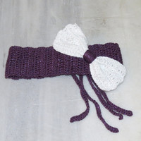 Knitted Bow Head band Oversized Bow Ear Warmer Wide Knitted Headband Purple White. Winter Headband, Hair Bands Hair Coverings for Women