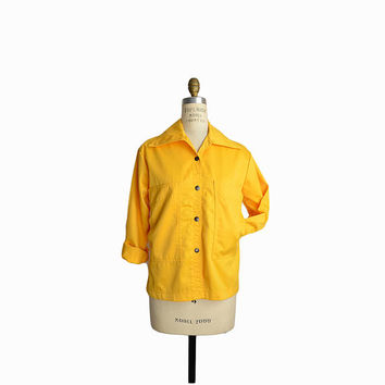 Vintage Golden Yellow Spring Jacket with Oversized Pockets / 70s Yellow Twill Jacket - women's small