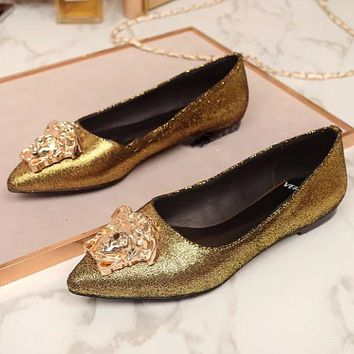 Versace wild tide brand hot drilling set foot casual shoes single shoes F0609-1 gold