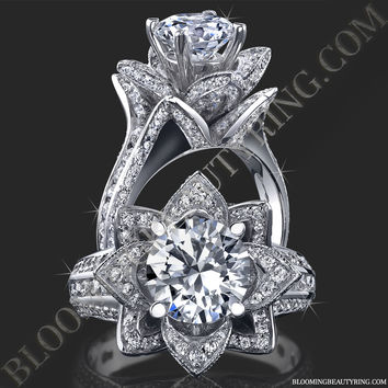 1.78 ctw. Original Large Blooming Beauty Flower Ring – bbr434 | Unique Engagement Rings, Flower Rings, Vintage & Antique Engagement Rings