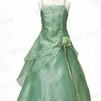 2014 Customed Sizes Flower Girl Dress Bow Spaghetti Appliques Zipper Sequins Beads Wedding/Evening Flower Girl Dress With Handmade Flowers
