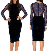 Deluxe Velvet Blue Lace Inset Dress Long Sleeves Cocktail Evening Party Clubwear = 1917056196