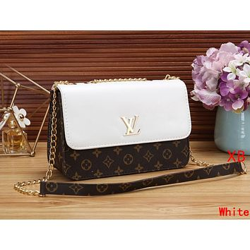 LV Louis Vuitton Women Leather Metal Chain Shoulder Bag Crossbody Satchel White