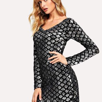 Fish Scale Sequin Dress