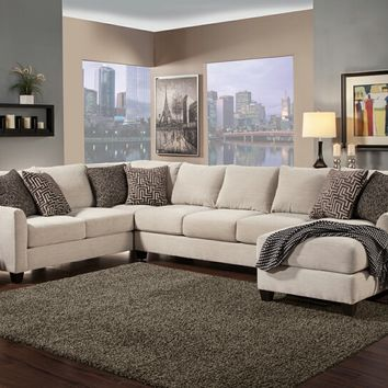 Benchley Poetic Sect Beige 3 pc peotic collection beige color fabric upholstered sectional sofa with flared arms and chaise