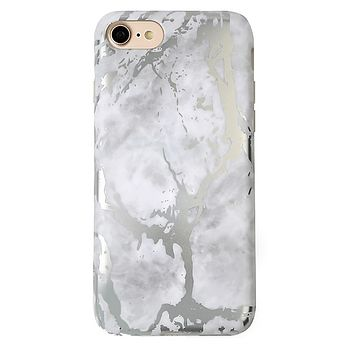 White Marble Silver Chrome iPhone Case