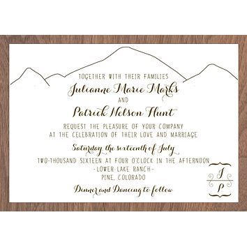 Modern Mountain Colorado Wedding Invitation Collection with Wood Veneer Backer