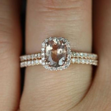 Romani 14kt Rose Gold Oregon Sunstone and Diamond Cushion Halo Wedding Set (Other Center Stone Available Upon Request)