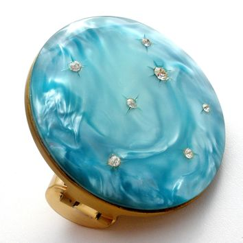 Vintage Blue Lipstick Holder Mirror Moonglow Compact