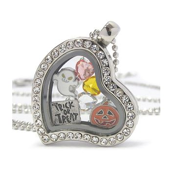 Heart Halloween Locket Necklace With a Ghost