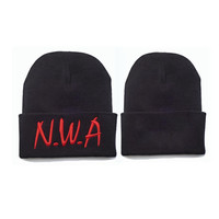 N.W.A Embroidered Unisex Knitted Hat Womens & Mens Eazy E Ice Cube Dr Dre Hip Hop Warm Girl Boy Winter Red & Black Cuffed Skully Hat