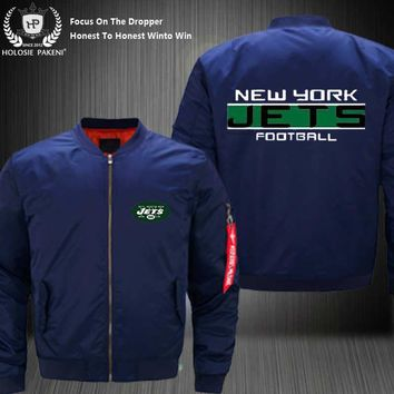 Dropshipping USA Size MA-1 Jacket Football Team New York Jets Men Flight Jacket Costume Design Printed Bomber Jacket made Men