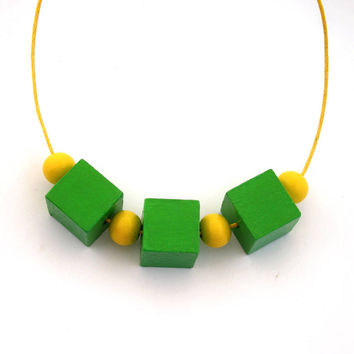 Wood necklace, cube necklace, wood bead necklace, geometric jewelry, wooden necklace, green and yellow, minimal jewelry, boho chic