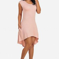Sexy Pink Cap Sleeve Flare High-Low Dress