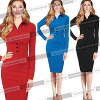 3 COLORS New 2014 Fashion Women Vintage Stretch Fitted Tunic Wear To Work Party One-piece Sheath Shift Wiggle Pencil Dress = 1958024452