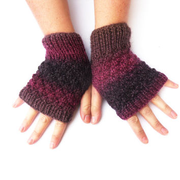 Purple fingerless gloves - aubergine womens mittens / hand warmers in soft chunky wool