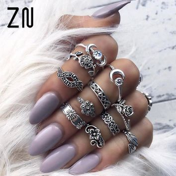 11Pcs/Set New Arrival Flower Natural Stone Carved Ring Set Bohemian Vintage Women Accessories