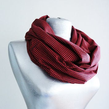 Handmade Tartan Infinity Scarf - Cotton Flannel - Red Black - Winter Autumn Scarf
