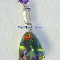 Mystic Fire Rainbow Topaz 3 Stone Jewelry Pendant Necklace, Silver