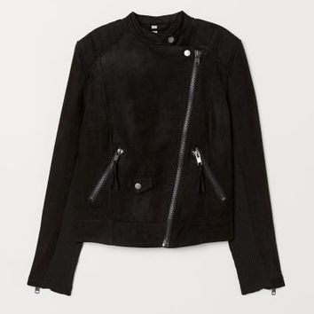 Biker Jacket - Black/faux suede - Ladies | H&M US