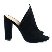 Limelight17M Black F-Suede by Bamboo, Black Suede Pointed Wing Peep Toe Slide In Mule Sandal w Block High
