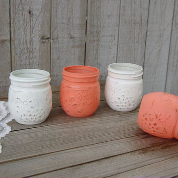 Mason Jars, Shabby Chic, Coral, White, Painted, Distressed, Jelly Jars, Candle Holders, Set of 4