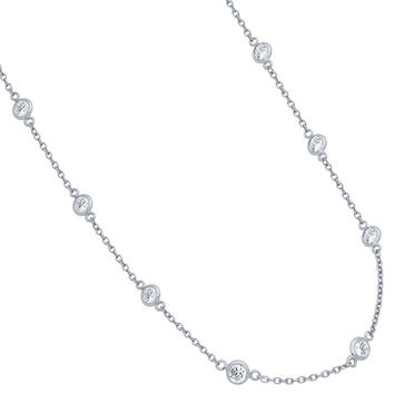 """.925 Sterling Silver Nickel Free 4mm Bezel Cubic Zirconia By The Yard Necklace 24"""""""""""