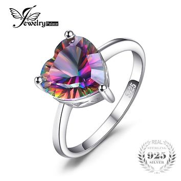 JewelryPalace Heart 2.65ct Genuine Rainbow Fire Mystic Topaz Solid Pure 925 Sterling Silver Ring Vintage Jewelry Brand Fashion