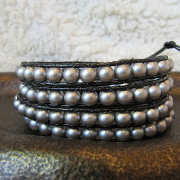 Grey Glass Pearl Beaded Leather Wrap Bracelet