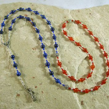 Libertas Prayer Bead Necklace in Lapis and Carnelian: Roman Goddess of Freedom and Liberty