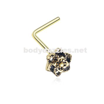 Golden Camellia Flower Filigree Icon L-Shaped Nose Ring 20ga Body Jewelry