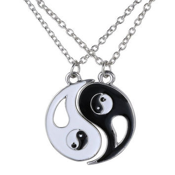 Black White Couple Sister Friend Friendship Jewelry Unique Personalized Gifts Yin Yang Pendant Necklace SM6