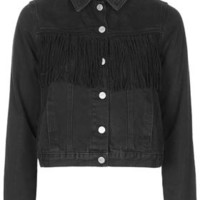 MOTO Suede Fringe Denim Jacket - Black