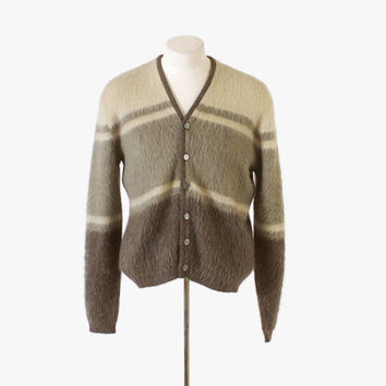 Vintage 60s MEN'S CARDIGAN / 1960s Shaggy Neutral Striped Mohair Wool Sweater M