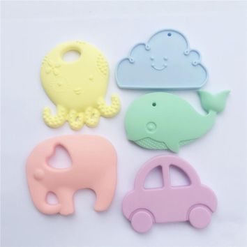 Chenkai 5PCS BPA Free Pastel Candy Color Silicone Baby Animal Teether DIY Baby Shower Pacifier Pendent Chewing Jewelry Toy