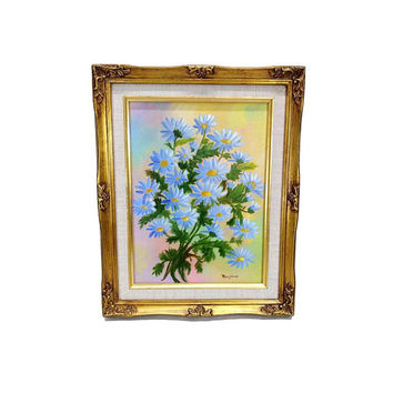 Vintage Floral Painting Gold Framed Still Life Bouquet Colorful Flower Picture Wall Art Decor Signed Maryjane
