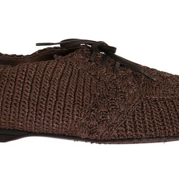Brown Woven Viscose Flat Shoes