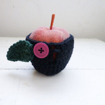 Apple cozy, crochet cozy, apple cozy black, crochet apple cozy, teacher's gift, teacher's swag, back to school, ready to ship, hand crochet