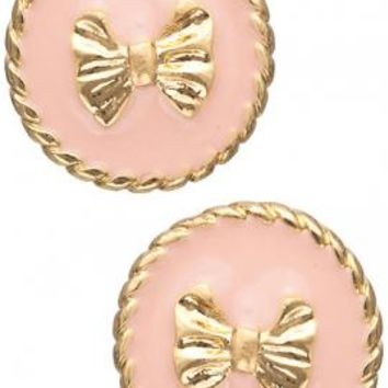 Charm School Round Twist Trim Bow Stud Earrings in Pink | Sincerely Sweet Boutique