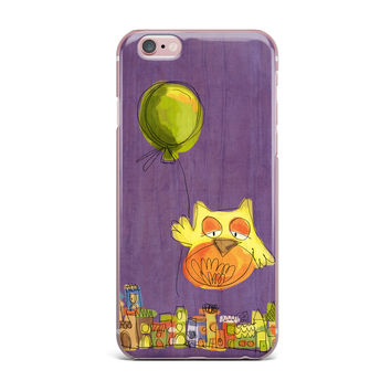 "Carina Povarchik ""Owl Balloon"" Purple Orange iPhone Case"