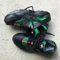 Nike Gucci Drops The Air Huarache Ultra Popular Women Men Casual Sports Shoes Sneakers Black&green