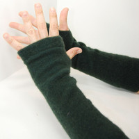 Cashmere Arm Warmers in Dark Pine Green - Recycled Long Fingerless Gloves
